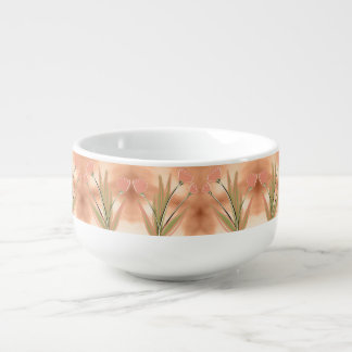 Pretty Pink Coral Tulip Print Soup Mug