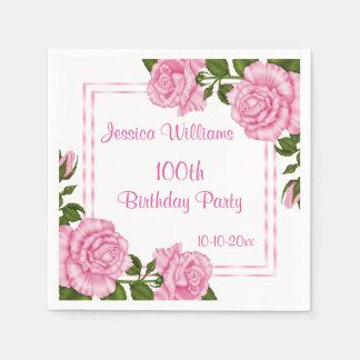 Pretty Pink Corner Bouquets 100th Paper Serviettes