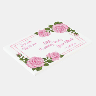 Pretty Pink Corner Bouquets 18th Birthday Guest Book