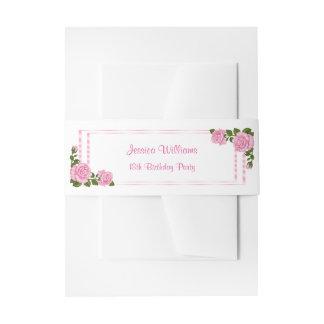 Pretty Pink Corner Bouquets 18th Birthday Invitation Belly Band