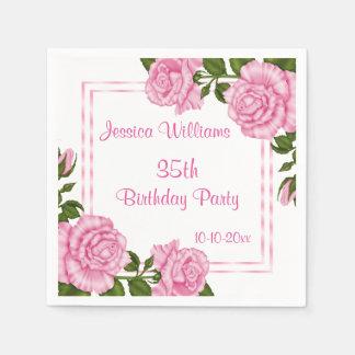 Pretty Pink Corner Bouquets 35th Paper Napkins