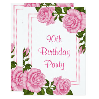 Pretty Pink Corner Bouquets 90th Birthday Card