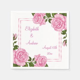 Pretty Pink Corner Bouquets Wedding/Engagement Disposable Napkins