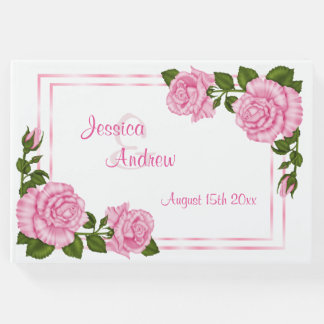 Pretty Pink Corner Bouquets Wedding Guest Book
