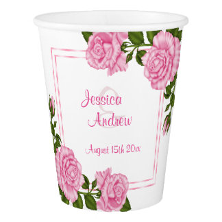 Pretty Pink Corner Bouquets Wedding Paper Cup
