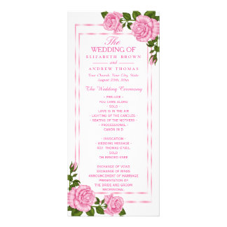 Pretty Pink Corner Bouquets Wedding Program Rack Card