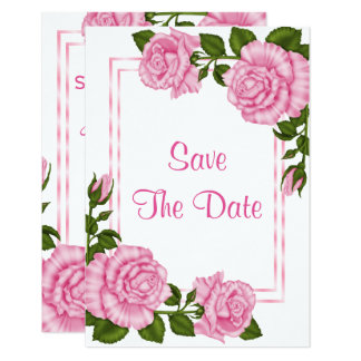 Pretty Pink Corner Bouquets Wedding Save The Date Card