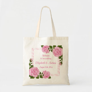 Pretty Pink Corner Bouquets Wedding Welcome Tote Bag