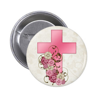 Pretty Pink Cross with Flowers Christian D1 6 Cm Round Badge