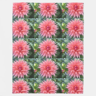 Pretty Pink Dahlia Flower Fleece Blanket