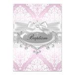 Pretty Pink Damask & Bow Baptism Invitation
