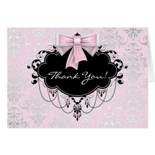Pretty Pink Damask Thank You Card