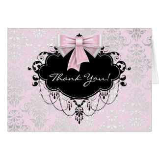 Pretty Pink Damask Thank You Note Card