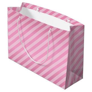 Pretty Pink Diagonal Stripe Pattern Large Gift Bag