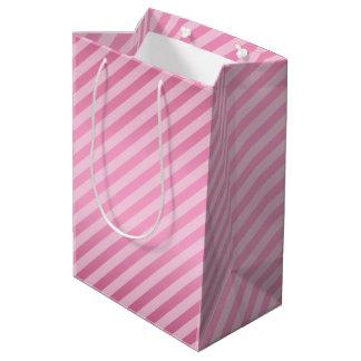 Pretty Pink Diagonal Stripe Pattern Medium Gift Bag