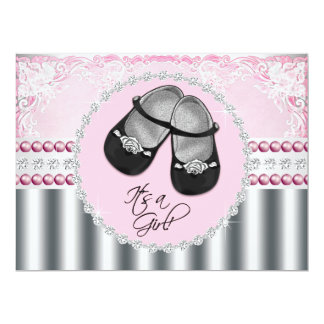 """Pretty Pink Diamonds and Pearls Baby Shower 6.5"""" X 8.75"""" Invitation Card"""