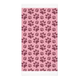 Pretty pink dog paw print pattern customised photo card