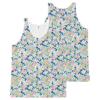 Pretty Pink Dog Roses on Deep Blue Floral Pattern All-Over Print Tank Top