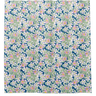 Pretty Pink Dog Roses on Deep Bluee Floral Pattern Shower Curtain