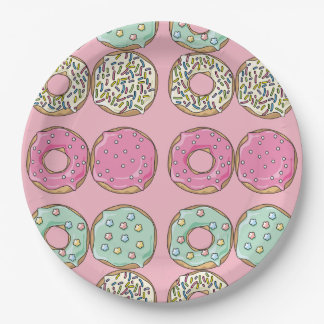 Pretty Pink Donuts Pattern Paper Plate