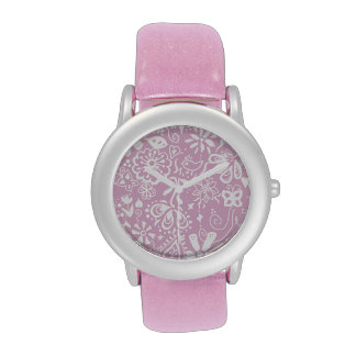 Pretty pink doodle pattern wrist watches