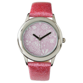 Pretty pink doodle pattern watch