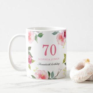 Pretty Pink Elegant Floral 70th Birthday Gift Coffee Mug