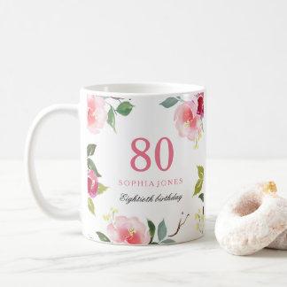Pretty Pink Elegant Floral 80th Birthday Gift Coffee Mug