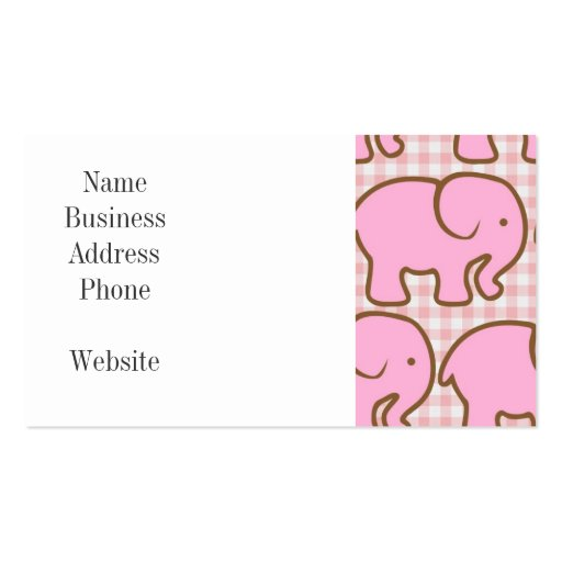 Pretty Pink Elephants on Pink Plaid Pattern Business Card Templates