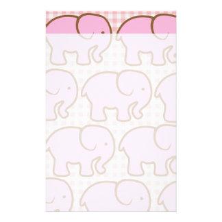 Pretty Pink Elephants on Pink Plaid Pattern Stationery