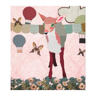 Pretty Pink Fawn Balloon Race Art Canvas Canvas Prints