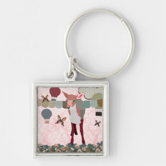 Pretty Pink Fawn Balloon Race  Keychain