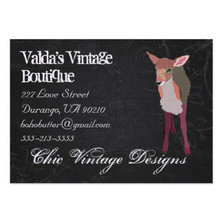Pretty Pink Fawn Black Grunge  Business Card