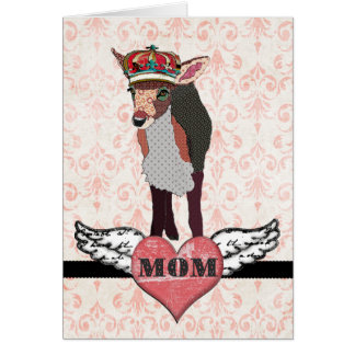 Pretty Pink Fawn Crowned Pink Damask  Vintage Moth Greeting Card