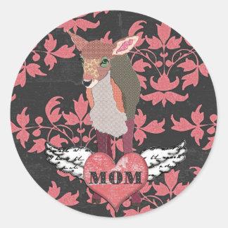 Pretty Pink Fawn Heart  Mom Sticker