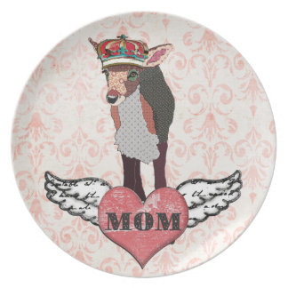 Pretty Pink Fawn Heart Mum Damask Plate