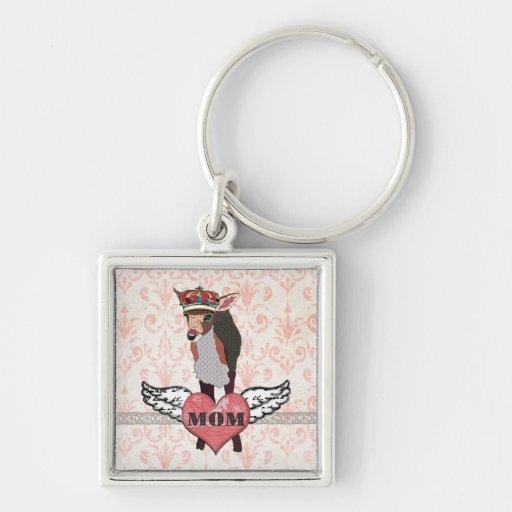 Pretty Pink Fawn Heart Mum Keychain