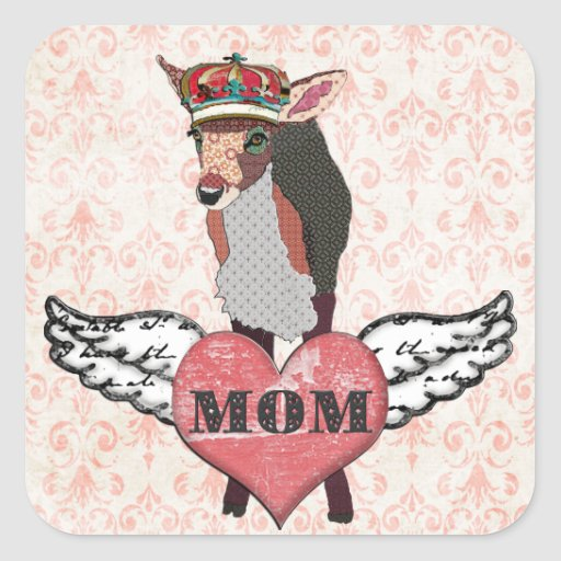 Pretty Pink Fawn Heart Mum Sticker