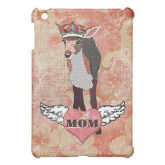 Pretty Pink Fawn Mom Damask iPad Case
