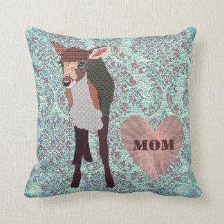 Pretty Pink Fawn Mum Boho Damask Mojo Pillow Throw Cushion