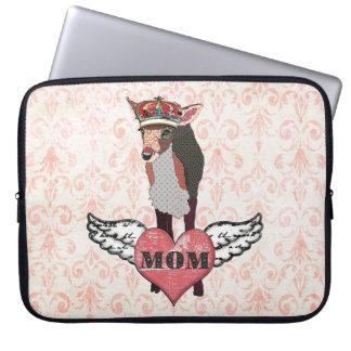 Pretty Pink Fawn Mum Damask Computer Sleeve