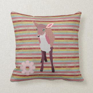 Pretty Pink Fawn Stripes Mojo Pillow Cushion