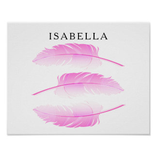 Pretty Pink Feather with DIY Name Poster