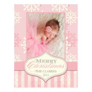 PRETTY PINK FIRST CHRISTMAS PHOTO CARD POSTCARD