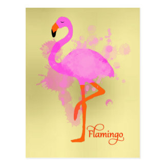 Pretty Pink Flamingo Artistic Paint Splatter Postcard
