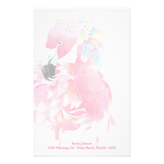 Pretty Pink Flamingo Personal Stationery