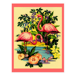 PRETTY PINK FLAMINGOS IN TROPICAL FOREST POSTCARD