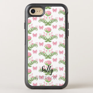 Pretty Pink Floral and Butterfly Personalized OtterBox Symmetry iPhone 8/7 Case