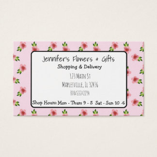 Pretty Pink Floral & Bow Business Card