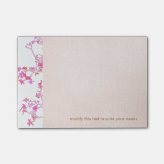Pretty Pink Floral Buds Branch Post-it Notes